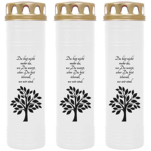 HScandle Grabkerze - 3er Pack - (Weiß) Grablicht ca. 7 Tage Brenndauer je Kerze - Motiv: Baum
