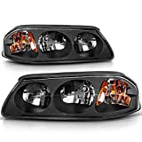 DWVO Headlight Assembly Compatible with 2000-2005 Chevy Impala Black Housing Amber Reflector