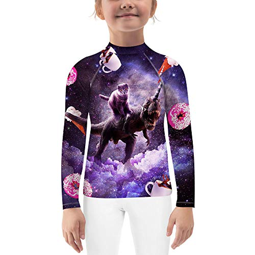 O2TEE Fight Wear Kids Boys Girls BJJ MMA Grappling Rash Guard Compression Shirt,Rex Cat,XL