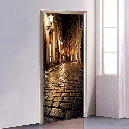 Puerta Wallpaper Murales 3D Alley At Night Door Wallpaper Sticker Autoadhesivo Vinilo Removable Art Door Decals para la Decoración Casera