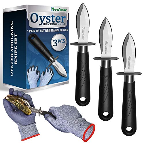 Oyster Shucking Knives Set, 3PCS Oyster Knife and Highest Cut Resistance Level Gloves, Great Choice for Opening All Oysters, Clams, Ark Shell, and Other Shellfish
