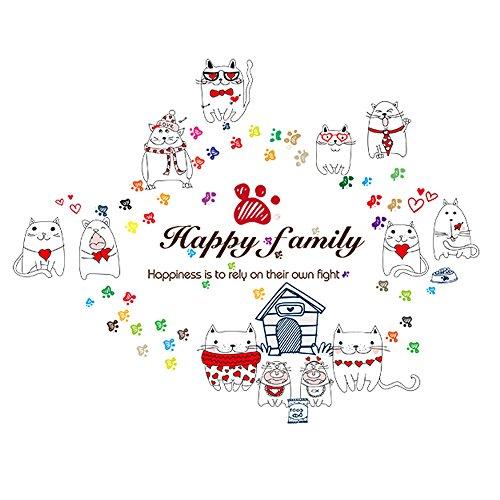 Winhappyhome Happy Cats Art Stickers Muraux pour Chambre D'Enfants Nursery Salon Café FenêTre Fond Amovible DéCoration Stickers