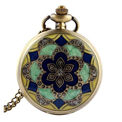 KKDS Clásico Verde Jade Crystal Quartz Big Pocket Reloj Collar Colgante Cadena para Hombre Regalo para el cumpleaños del día del Padre (Color : A)
