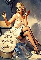 Happy Birthday Pin Up Girl 金属板ブリキ看板警告サイン注意サイン表示パネル情報サイン金属安全サイン