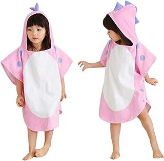 Scorpiuse1_jp 子ども用バスローブ ポンチョ マント バスタオル フード付き お風呂 出産祝い贈り物にも (ピンク)