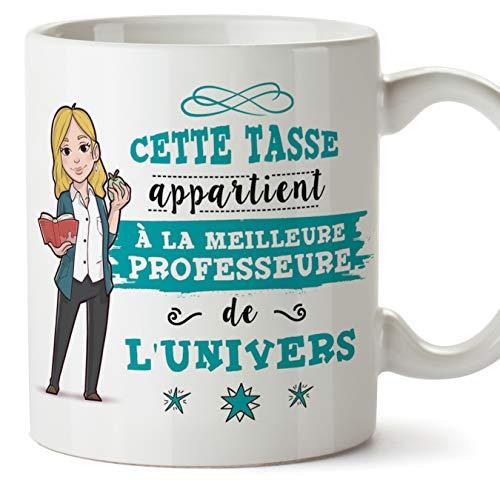 MUGFFINS (Taza en francés) Tazas Originales de café y Desayuno del Profesor para Dar a los Trabajadores Profesionales - Esta Jarra Pertenece al Mejor Profesor del Universo - Cerámica 350 ml