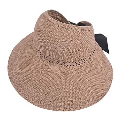 Vobery Sombrero de verano para mujer Floppy Beach para el sol, para ciclismo, ajustable, color caqui
