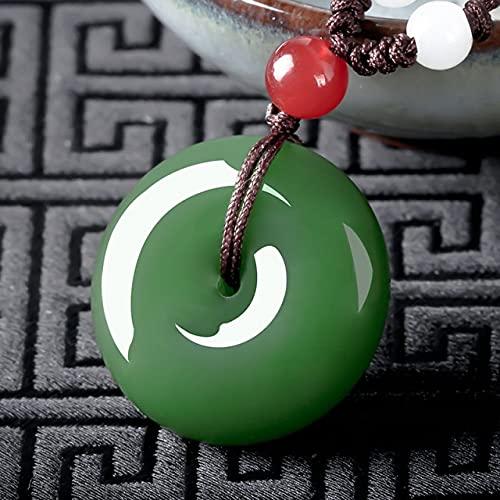 JIUXIAO Colgante de Hebilla de Seguridad de Jade Verde Natural, Collar Chino Tallado a Mano, joyería Fina, Amuleto de Moda para Hombres y Mujeres, Regalo Blanco