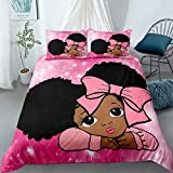 Cute Black African American Girls Bedding Twin Set,Pink Peekaboo Girl Duvet Cover Set ,Black Girls Magic Comforter Cover 3 Piece Bed Set ,Gifts for Kids Teens Holiday Birthday