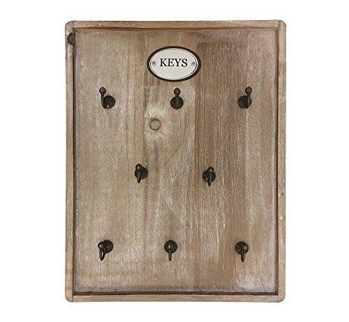 zeitzone Schlüsselbrett Keys 8 Haken Schlüsselkasten Holz Braun 35x26,5cm