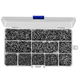 HETH 2000pcs Fishing Worm Hooks High Carbon Steel Wide Gap Offset Fishing Hook Set for Saltwater and Freshwater with 10 Sizes