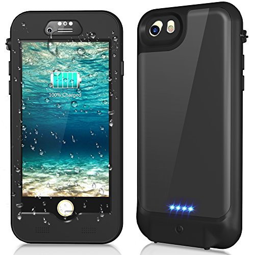Temdan iPhone 8/7/6s/6 Waterproof Battery Case QI Wireless Charging Compatible. 3000mAh Charger Case with Screen Protector Power Case Extended Battery Charging Case for iPhone 8/7/6s/6 (4.7inch)