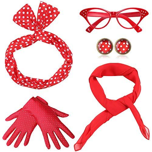 Coucoland 50er Jahre Rockabilly Kostüm Accessoires Damen 1950s Zubehör Set Inklusive Polka Dots Bandana Haarband Ohrringe Handschuhe Katzenaugen Sonnenbrille Chiffon Schal (Rot)