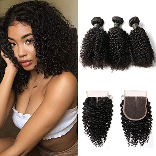 SingleBest Curly Human Hair Bundles With Closure 10A Brazilian Virgin Remy Hair Short Curly Weave With 4x4 Half Hand Tied Lace Closure for Black Women Natural Color(8 8 8+8inch)