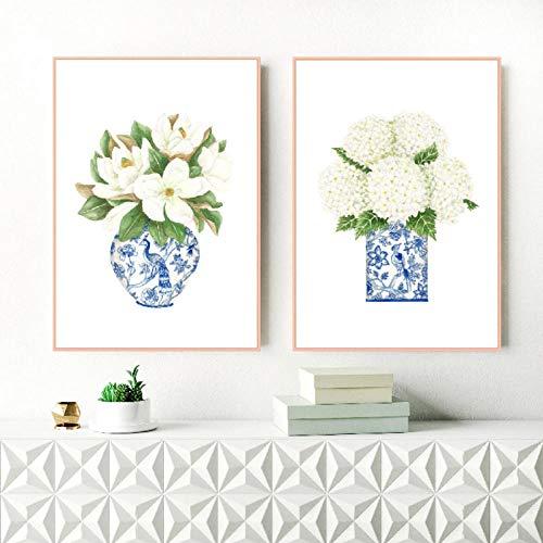 N/A Blauwe en witte magnolia-hortensia-prints Chinoiserie muurkunst schilderij muurkunst schilderij muurplakaat trendy wanddecoratie 40x60cmx2 geen lijst