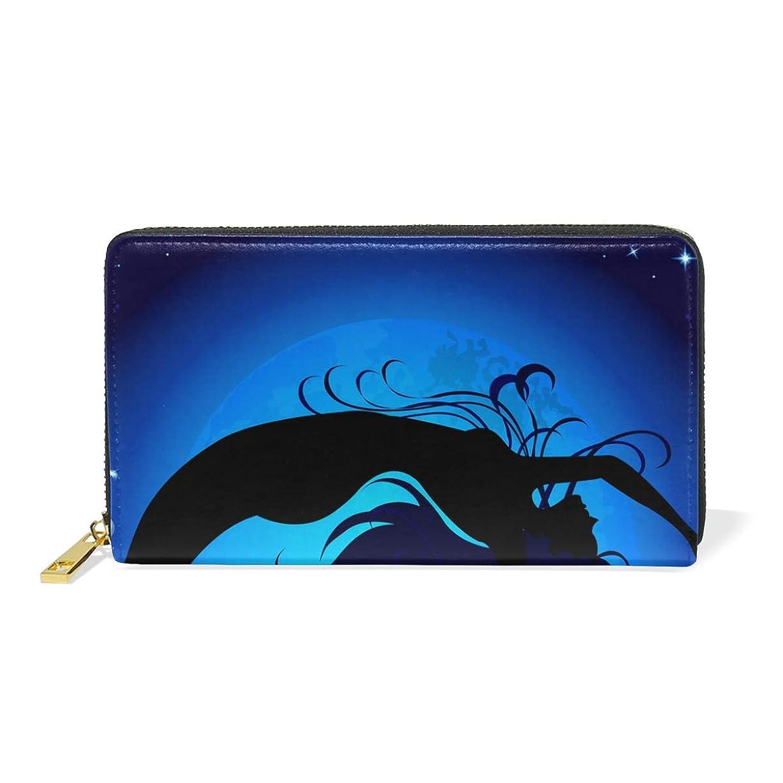 死の顎測定からかうマキク(MAKIKU) 長財布 レディース 大容量 宇宙柄 星柄 人魚 レザー 革 プレゼント対応