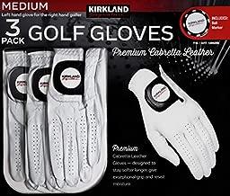 Kirkland Signature Men's Golf Gloves Premium Cabretta Leather, Medium/Large, 3 Pack