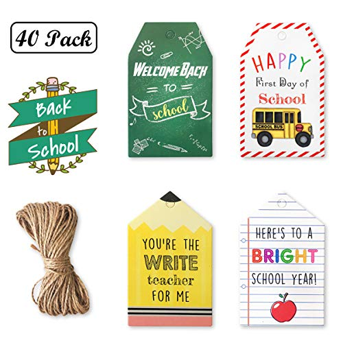 40PCS Back to School Gift Tags - First Day of School Kraft Label Tags with Jute String, Appreciation Party Favors Decorations, School Supplies Candy Baking Wrap Art Cards for Teacher Students Kids