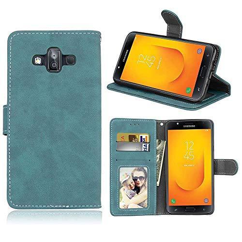 Luckyandery - Funda con tapa para Galaxy J7 Duo Accesorios, Galaxy J7 Duo, diseño de libro con función atril y ranuras para tarjetas - Samsung Galaxy J7 Duo, Samsung Galaxy J7 Duo, Azul