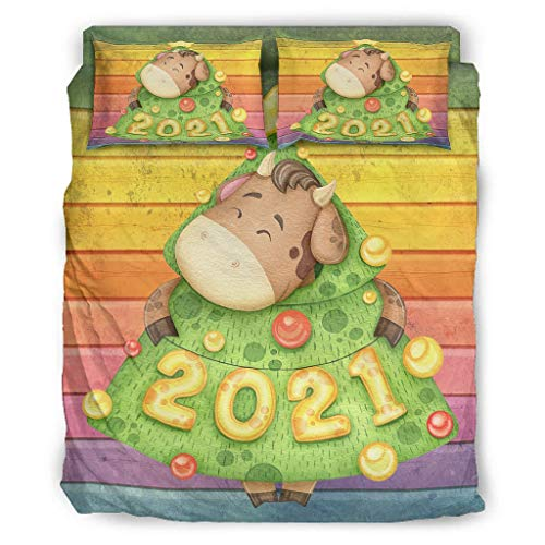 Four-piece Bed Set Printed 2021 Christmas Cattle Multi Colour Bedding Set With Bed Sheet Christmas Duvet Cover white 203x230cm