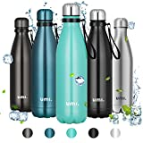 Umi. by Amazon - Botella Agua Acero Inoxidable, Termo 750ml, Sin BPA, Islamiento de Vacío de Doble Pared, Botellas Frío/Caliente, Reutilizable para Niños, Colegio, Sport, Bicicleta (Verde)