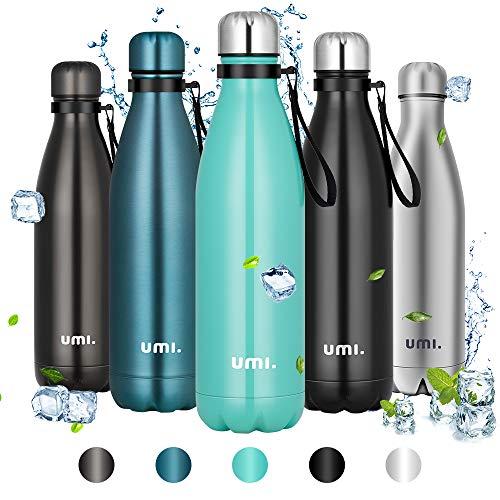 Amazon Brand - Umi Borraccia Termica, 750ml Bottiglia Acqua in Acciaio Inox, Senza BPA, 24 Ore Freddo & 12 Caldo, Borracce per Scuola, Sport, Allaperto, Palestra, Yoga (Verde)