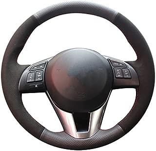 XuJi Black Suede Black Genuine Leather Car Steering Wheel Cover for Mazda 3 Axela 2013-2016 / Mazda 6 Atenza 2014-2017 / Mazda 2 2015-2017 / CX-3 CX3 2016-2017 / CX-5 CX5 2013-2017 / Scion iA 2016