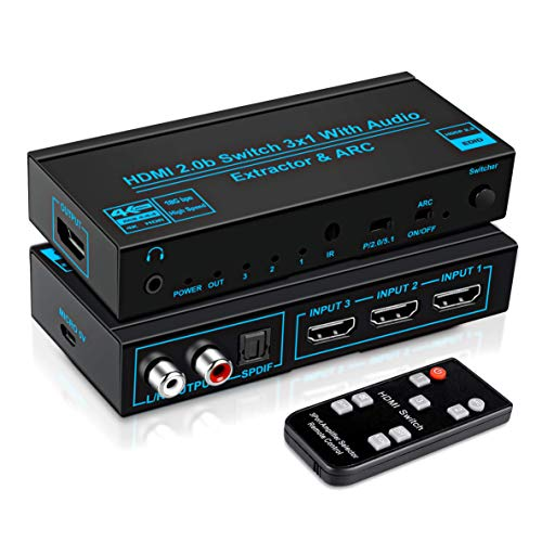 FERRISA 4K@60Hz HDMI Audio Extractor, HDMI Switch 3 in 1 Out with Optical+L/R+3.5mm Stereo Audio Out, 3 Port HDMI Switch with Remote, Supports HDMI2.0b, HDCP2.2, ARC, 1080P, 3D
