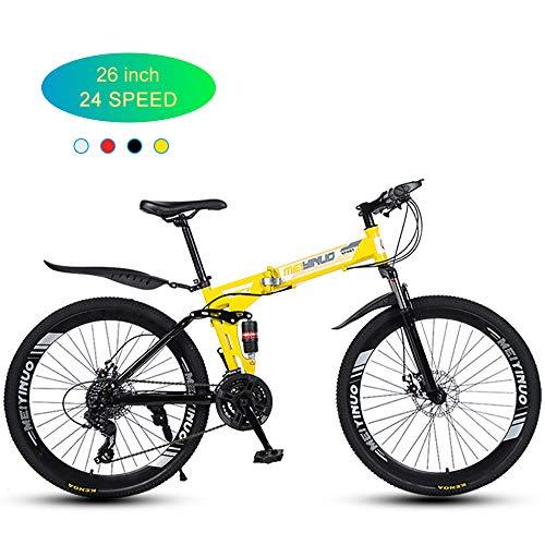 Super-ZS Bicicleta De Montaña De 26 Pulgadas, Ruedas Plegables/De 40 Radios / 24 Velocidades/Frenos Mecánicos De Doble Disco/Amortiguadores Dobles/Bicicleta Todoterreno para Hombre
