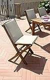 Gruppo Maruccia Juego de 2 sillas para Exteriores de Madera de Teca con Cojines Decorativos para Exteriores y restaurantes, sillas Plegables de Madera para jardín