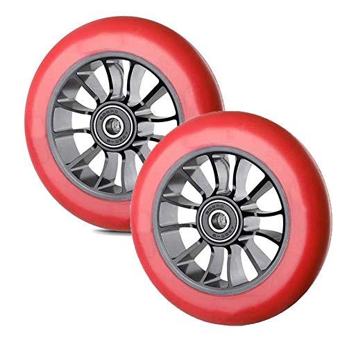 Byjia Ruedas de Repuesto para Scooter de 110 mm, Ruedas Gruesas de PVC para Scooter con rodamiento ABEC-9, se Adapta a la mayoría de los Scooters de Estilo Libre,Rojo,2pcs