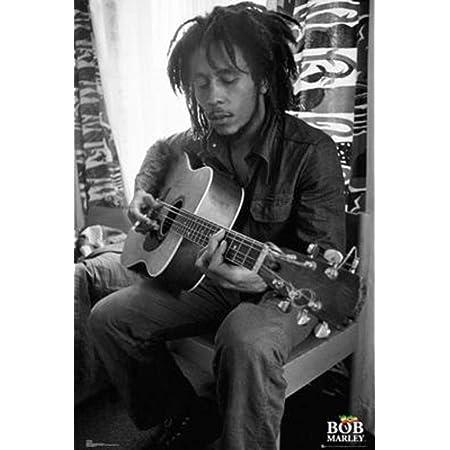 "Bob Marley Acoustic Guitar Reggae Cool Wall Decor Art Print Poster 36/"" x 24/"""
