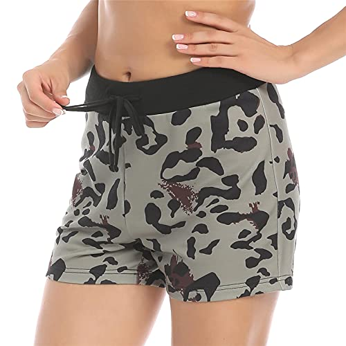 LOLIDIRECTS Women Casual Fashion Shorts Summer Drawstring Camouflage Loose Athletic Pants (Short Black Green, S)