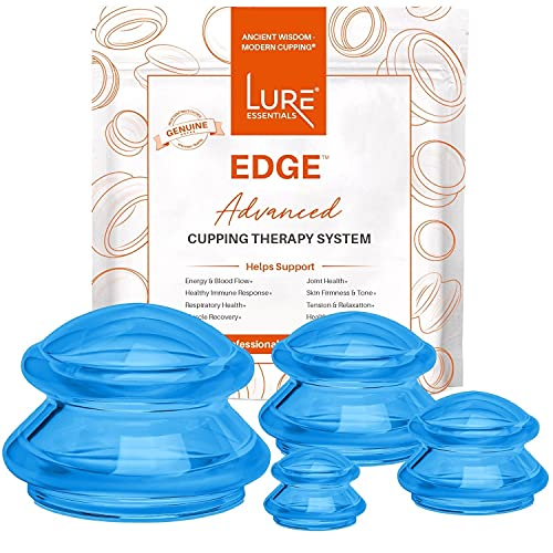 Lure Essentials Edge Cupping Set for Home Use and Massage Therapists, Silicone Cupping Sets for Cellulite Reduction and Cupping Therapy (4 Piece Assortment, Blue)