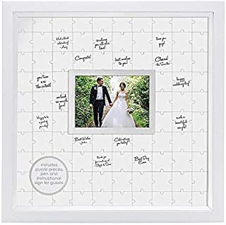 Pearhead Puzzle, White, Unique Alternative, Perfect Wedding Keepsake Guestbook Frame, (Renewed)