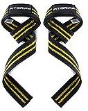 Fitgriff® straps powerlifting, levantamiento de pesas, agarres para gym, agarraderas gimnasio, peso muerto - lifting straps - mujeres y hombres - black/yellow
