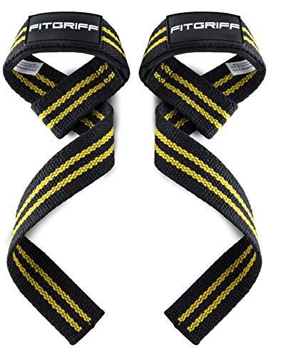 Fitgriff Straps Powerlifting, Levantamiento de Pesas, Agarres para Gym, Agarraderas Gimnasio, Peso Muerto - Lifting Straps - Mujeres y Hombres - Black/Yellow