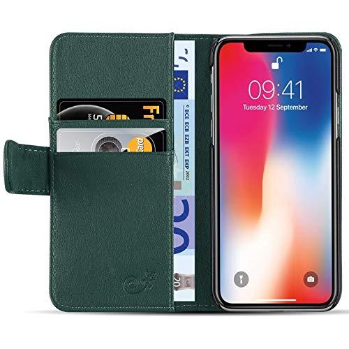 JAMMYLIZARD Custodia Portafoglio per iPhone X e XS | Cover a Libro Classic Wallet Flip Case in Pelle, Verde Foresta