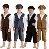 Charlie Crow Archie Victorian Boy Costume for Kids 9-11 Years. Dark Brown & White.