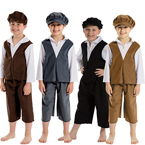 Charlie Crow Archie Victorian Boy Costume for Kids 9-11 Years. Dark Brown & White.