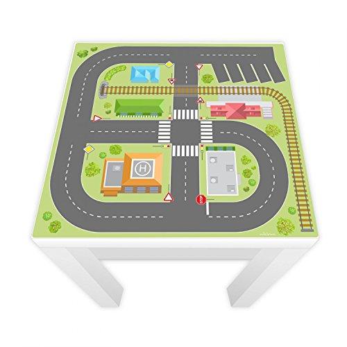 nikima Schönes für Kinder Spielfolie für Lack Tisch 54x54 cm Stadtleben (Möbel Nicht Inklusive)