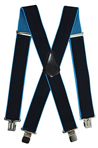 Olata Extra Lange, Extra Breite XXL Hosenträger X-Form mit 4 Starken Clips, Stark Stoff - 5cm. Schwarz/Türkis