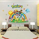 YWJFASHION Wall Sticker, Pokemon Go for Kids Pièces Accueil Décorations Pikachu Stickers Muraux Amination Affiche De Mur d'art Fond D'écran Enfants, Autocollants, 88.4x61.2cm