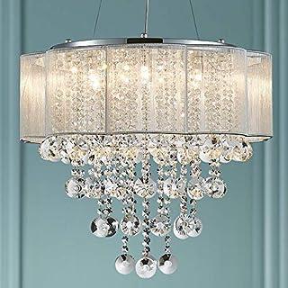 Bestier Moderne Elegent Cristal Pendentif Lustre Tambour 6 Luminaires Chrome Luminaire LED Plafonnier Dia 55 cm x H 48 cm