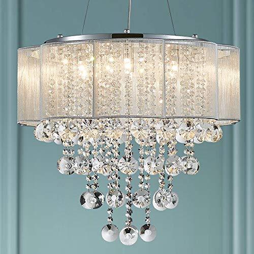 Bestier moderno elegante lampadario a sospensione in cristallo tamburo lampadario 6 luci cromo apparecchio plafoniera LED diametro 55 cm x H 48 cm