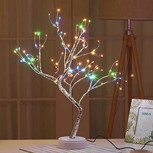 108 LED Albero Bonsai Lampada da Tavolo,Lampada ad albero illuminata Luce a forma di albero Luci LED Batteria USB Interruttore a sfioramento Light per Matrimonio Camera Da Letto Decorazione