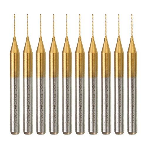 ILS - 10 Stücke 1/8 Zoll Schaft Wolfram Stahl Leiterplatten Bohrer 0.4mm Titan beschichtet Hartmetall Leiterplatten Bohrer Set