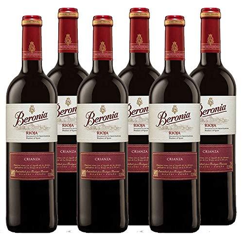 Vino tinto Beronia Crianza de 75 cl - D.O. La Rioja - Bodegas Gonzalez Byass (Pack de 6 botellas)