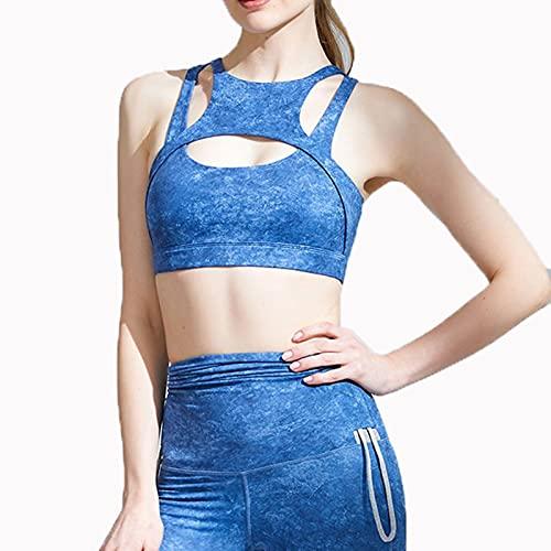 HONGFEI-SHOP Sujetador Deportivo para Mujeres Tie-Tinte Acolchado Soporte de Yoga Bras Running Gimnasio Entrenamiento Fitness Top (Color : Blue, Size : Small)