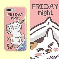 iphone11、iPhone x/xs、カップル、かわいい、漫画の手描き、オリジナル、ピンク、猫に適したiPhoneケース